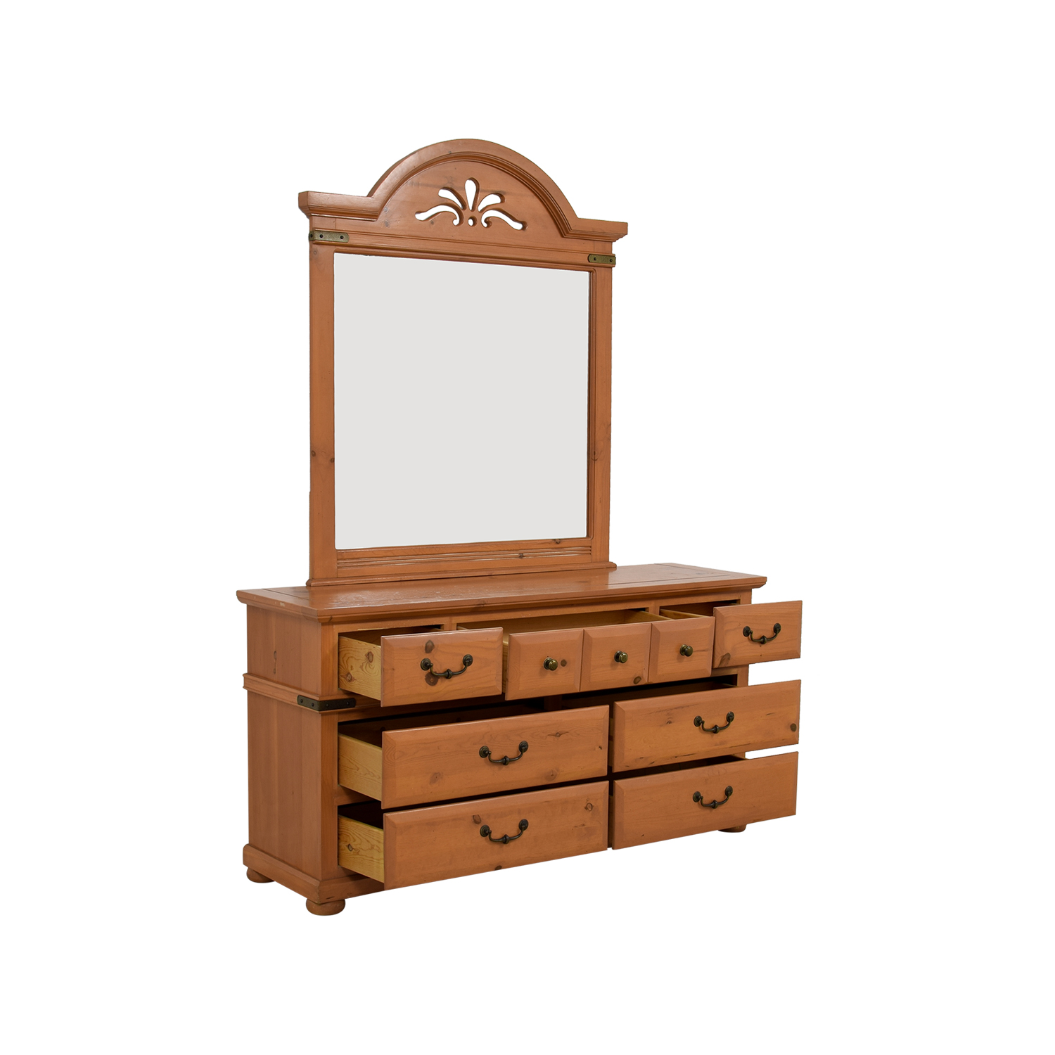 Off wood seven drawer dresser with cutout mirror
