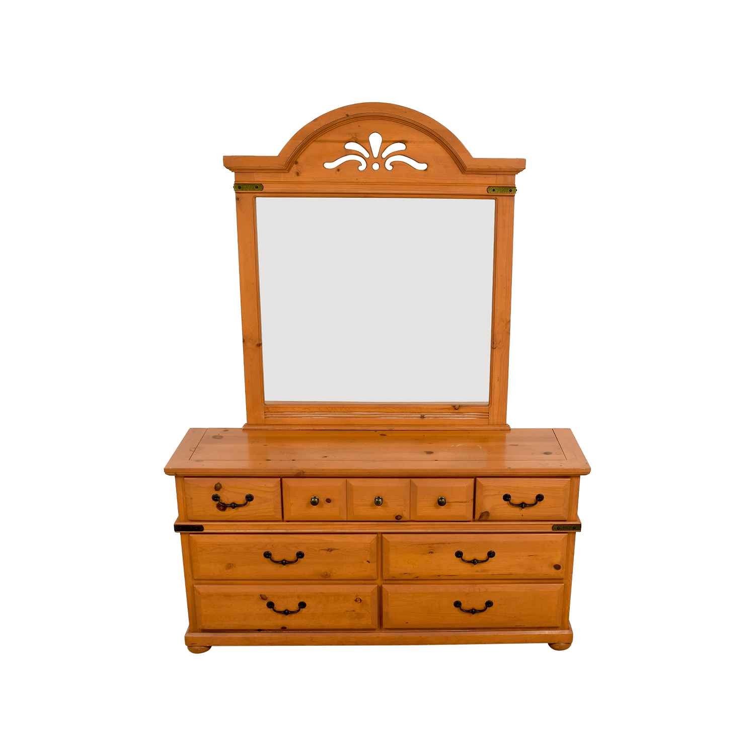 Wood Seven-Drawer Dresser with Cutout Mirror dimensions