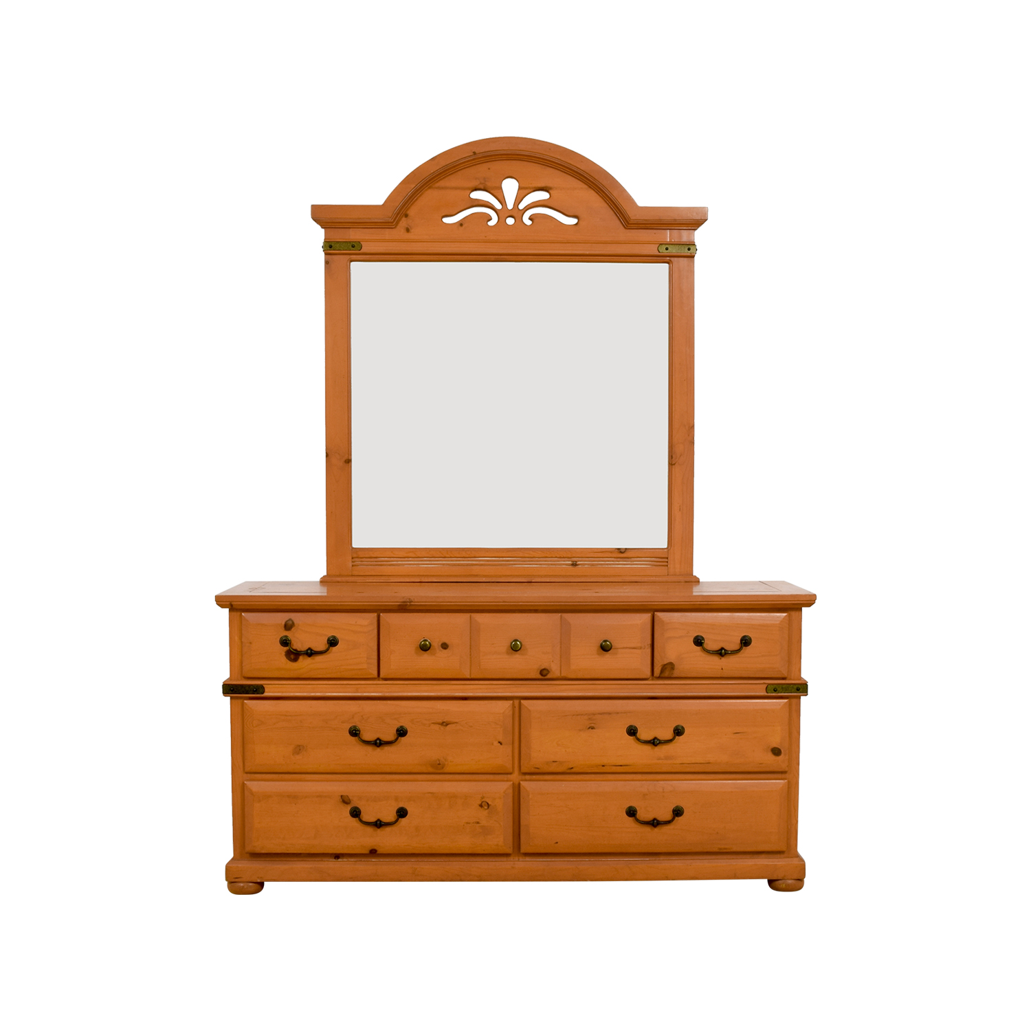 buy Wood Seven-Drawer Dresser with Cutout Mirror Storage