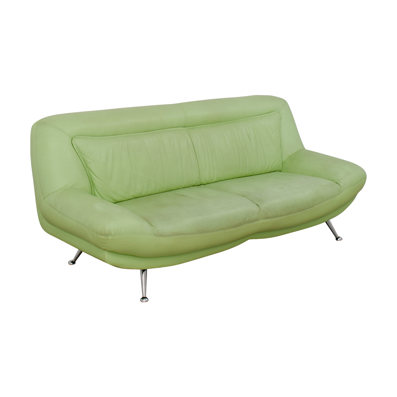 ... Italian Mint Green Leather Two Cushion Sofa Nj ...