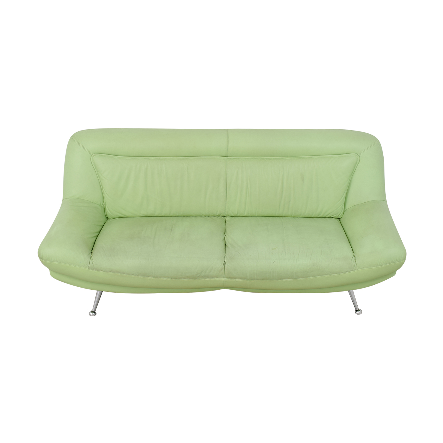 Italian Mint Green Leather Two-Cushion Sofa green