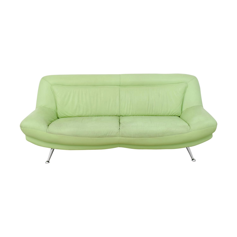 Fabulous 90 Off Italian Mint Green Leather Two Cushion Sofa Sofas Machost Co Dining Chair Design Ideas Machostcouk
