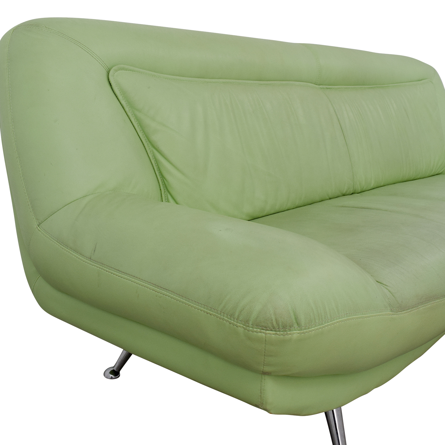 40% OFF Italian Mint Green Leather Two Cushion Sofa Sofas