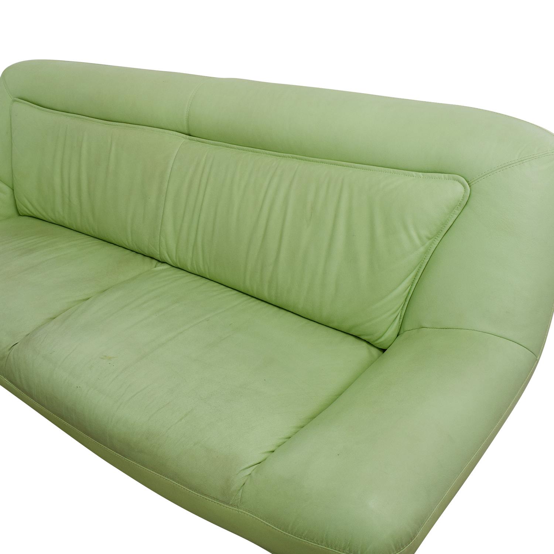 54% OFF Italian Mint Green Leather Two Cushion Sofa Sofas