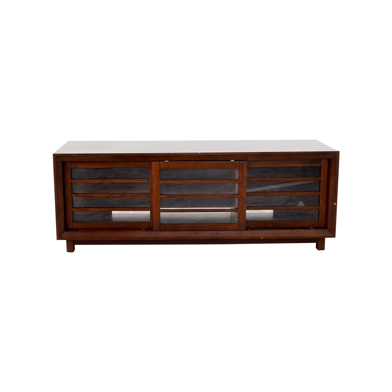 buy Crate & Barrel Wood and Glass Media Stand Crate & Barrel Media Units