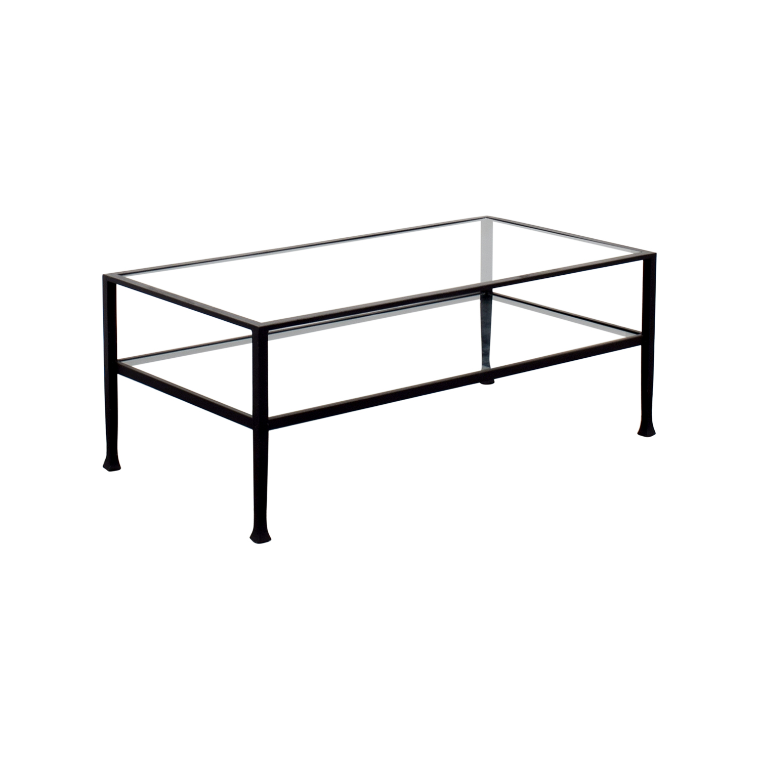 51 Off Rectangle Metal And Glass Coffee Table Tables