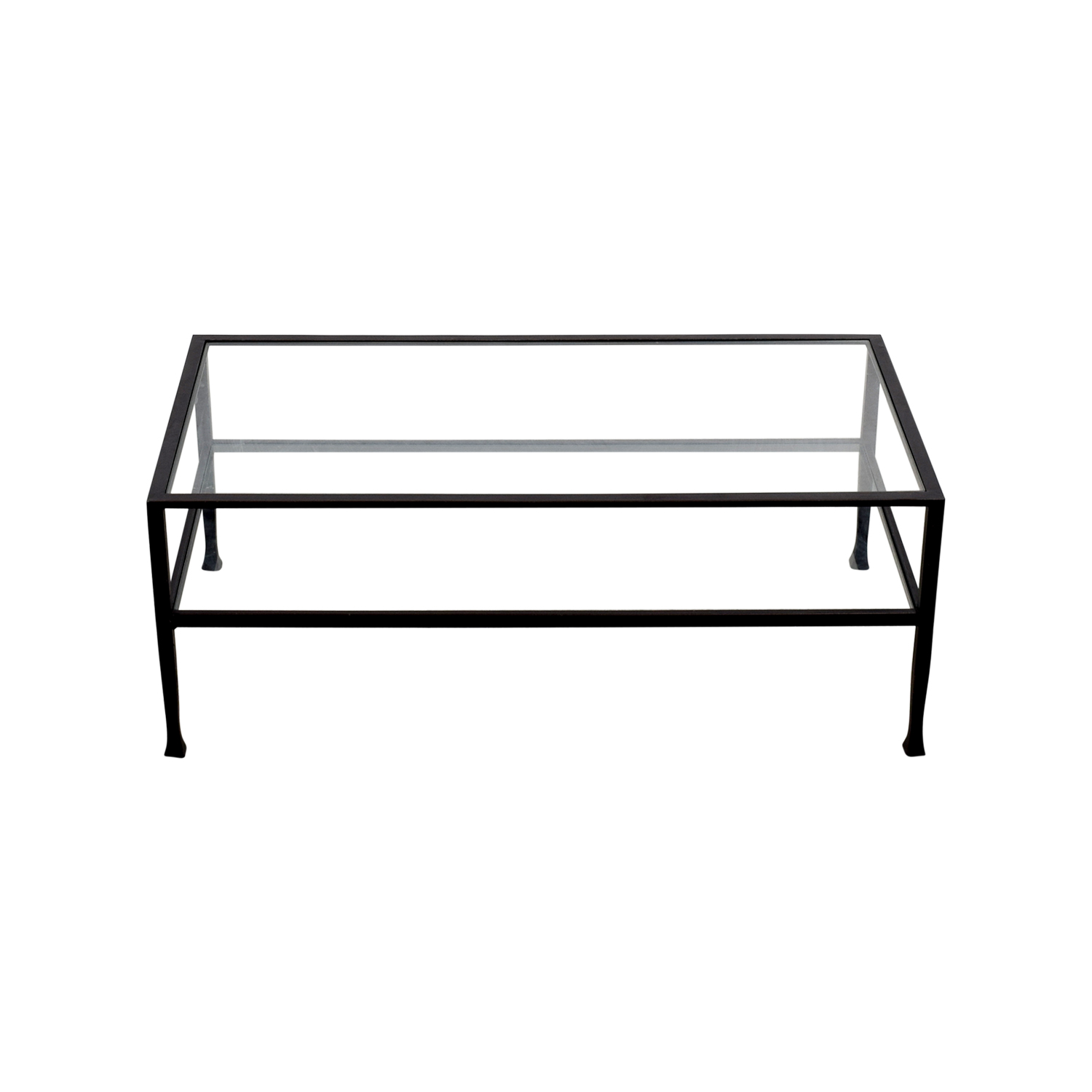 Rectangle Metal and Glass Coffee Table for sale