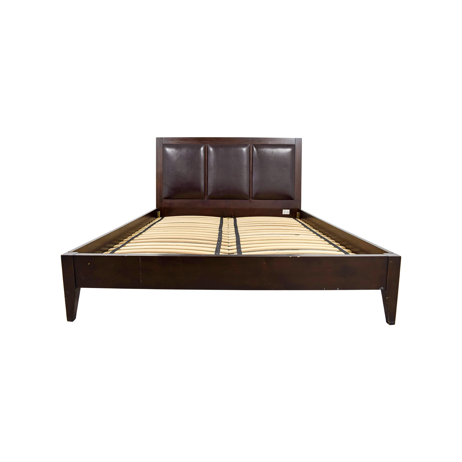 Crate & Barrel Crate & Barrel Brown Leather Queen Bed Frame dimensions