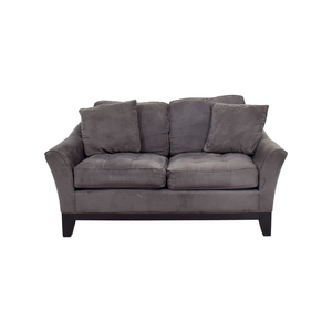 Raymour & Flanigan Raymour & Flanigan Rory Slate Microfiber Loveseat Sofa for sale