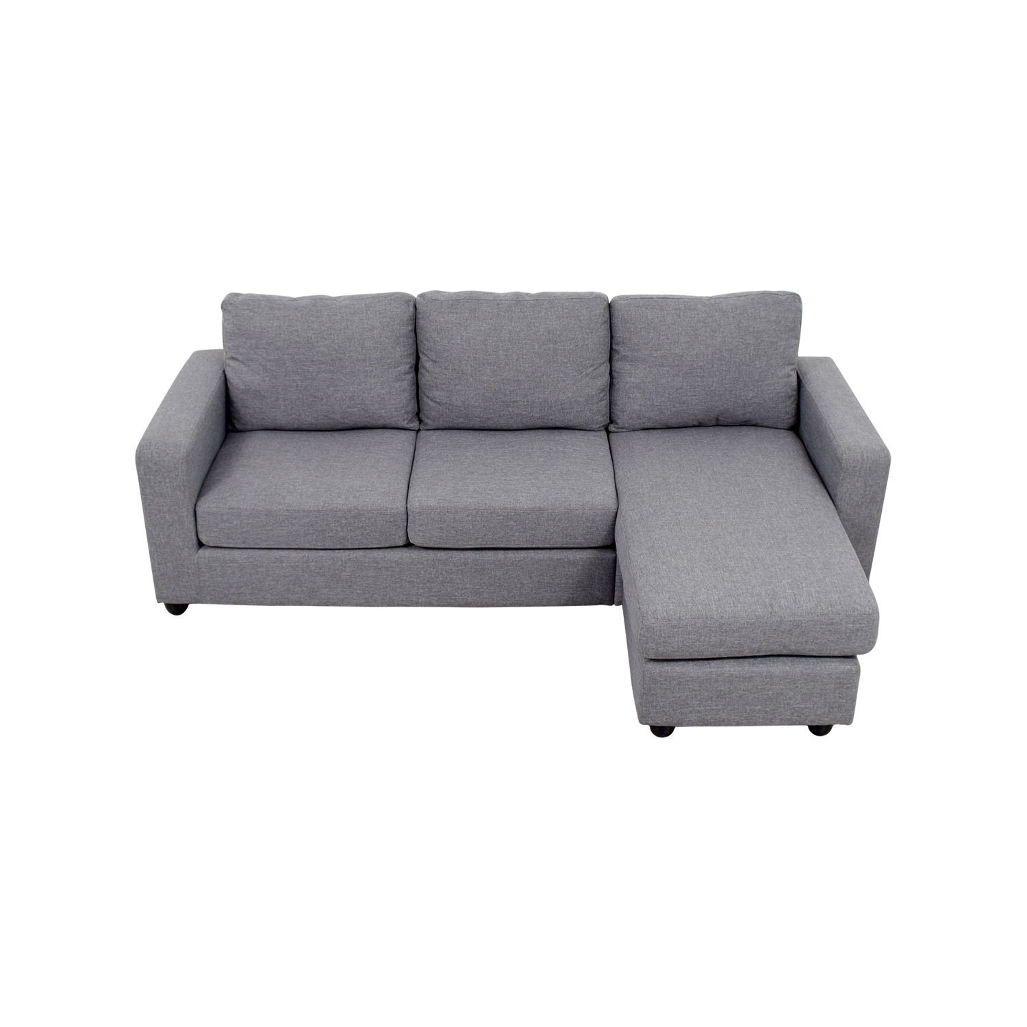 35% OFF - Grey L-Shaped Chaise Couch / Sofas