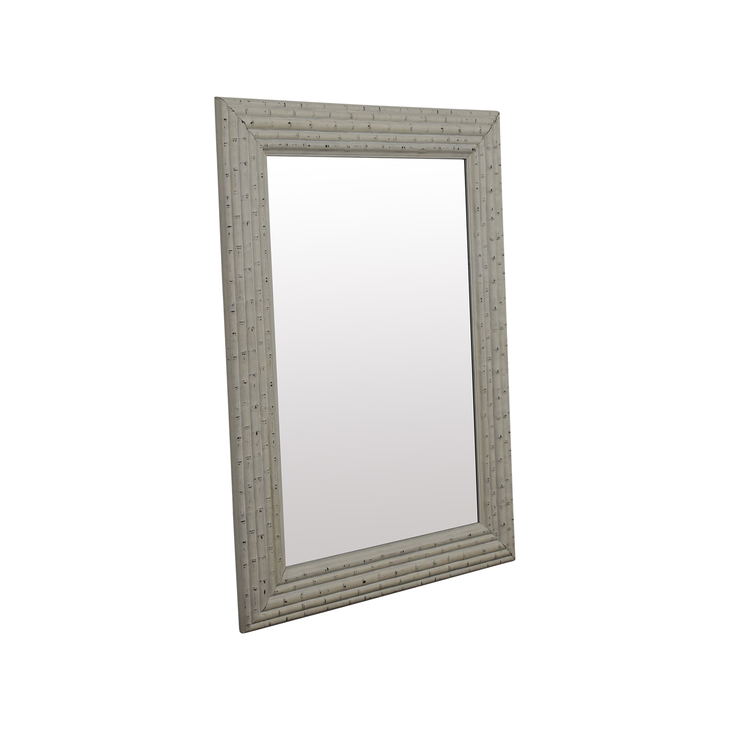 HomeGoods HomeGoods Large White Bamboo Mirror for sale
