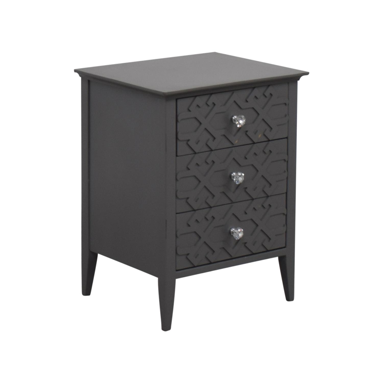 Target Target Grey Three-Drawer Carved Nightstand price