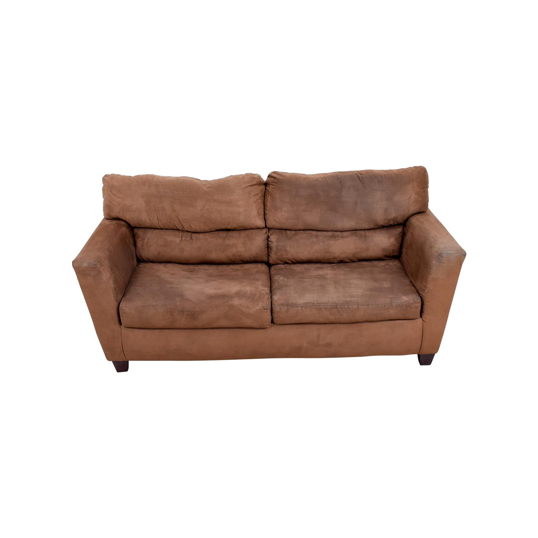 buy Bob's Furniture Brown Two-Cushion Sofa Bob's Furniture