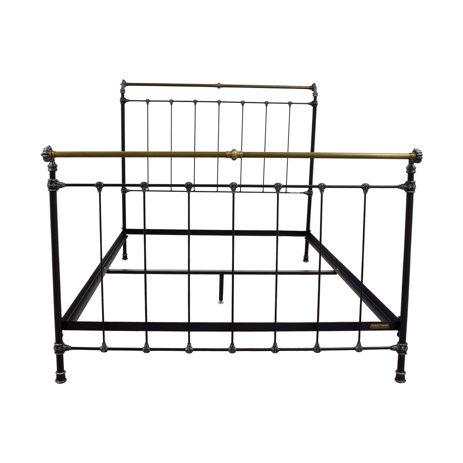 Charles P. Rogers Charles P. Rogers Iron and Brass Queen Sleigh Bed Bed Frames