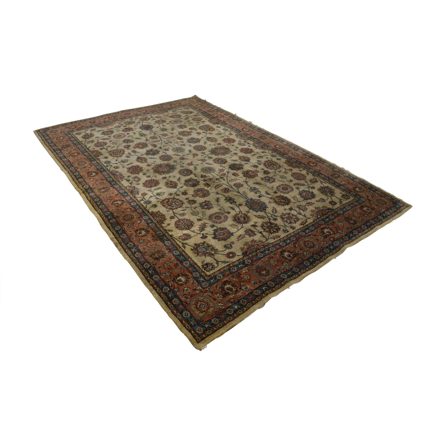 buy Turkish Beige Red Wool Rug