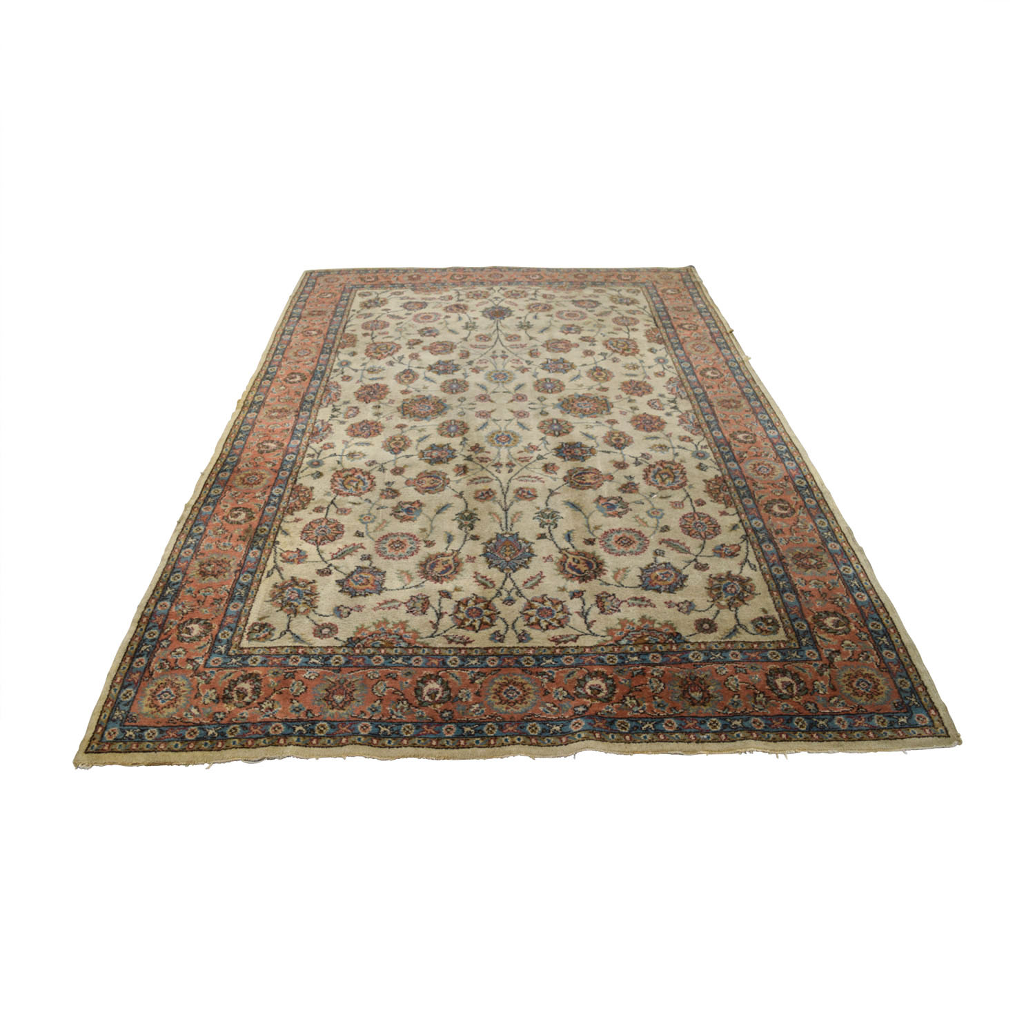 Turkish Beige Red Wool Rug