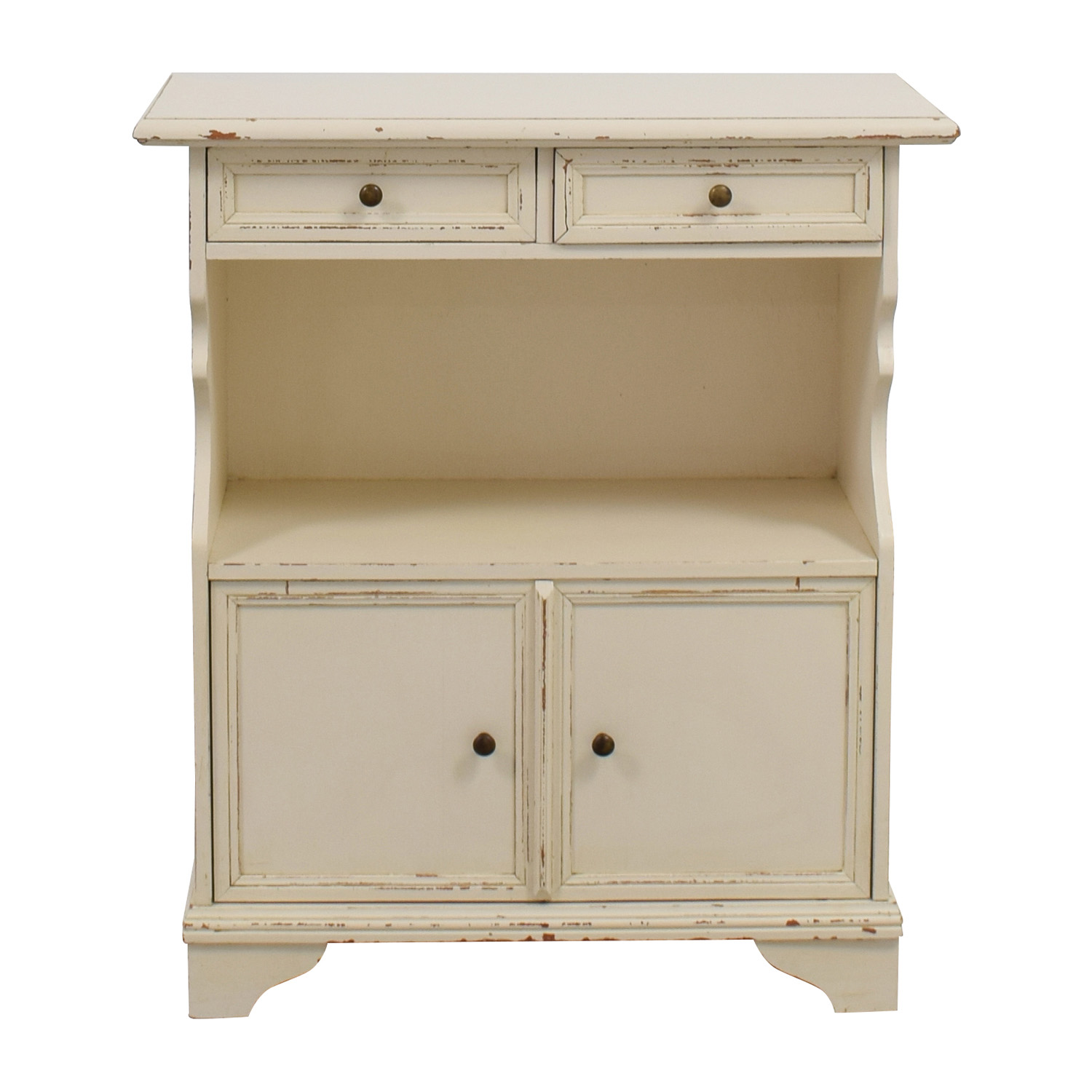 White Distressed Side Table on sale