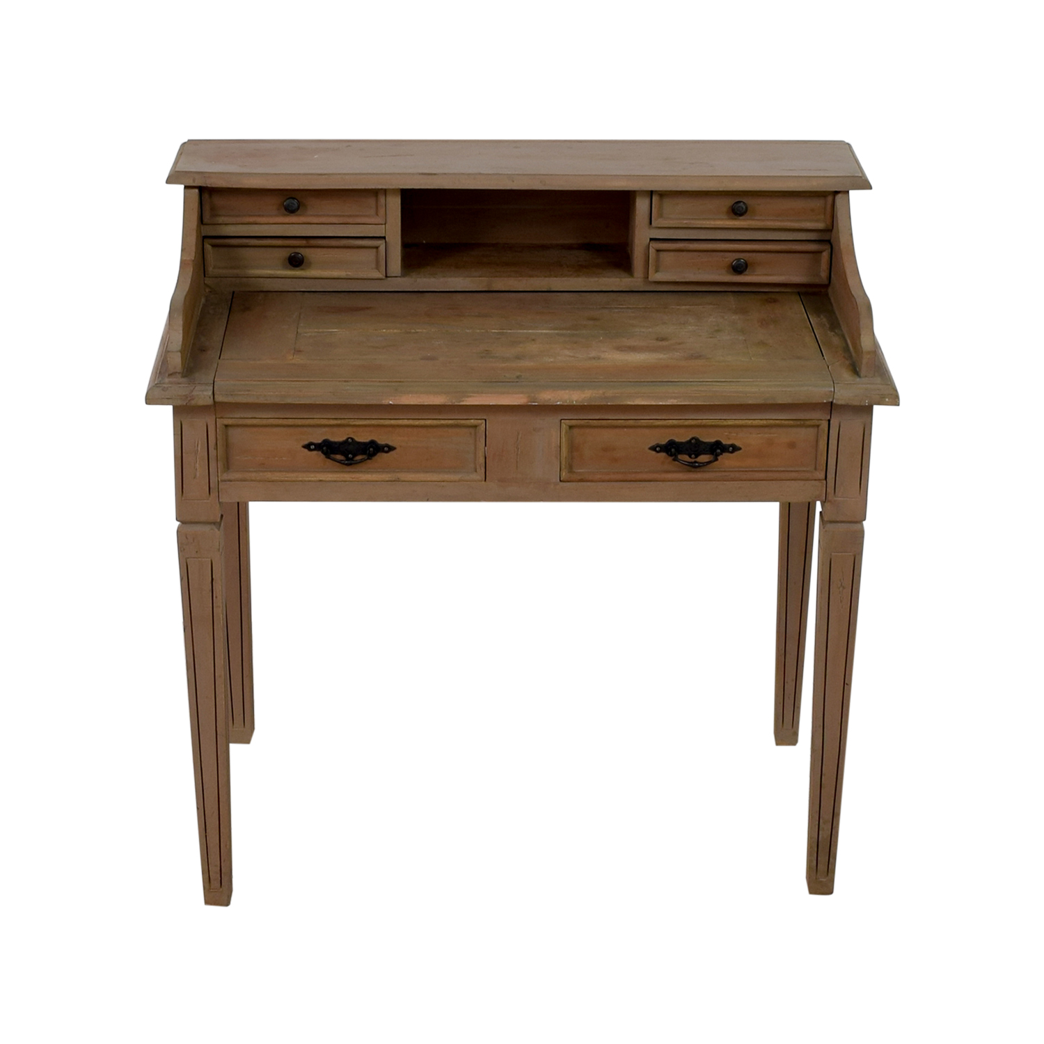Wooden Desk With Small Hutch Grey