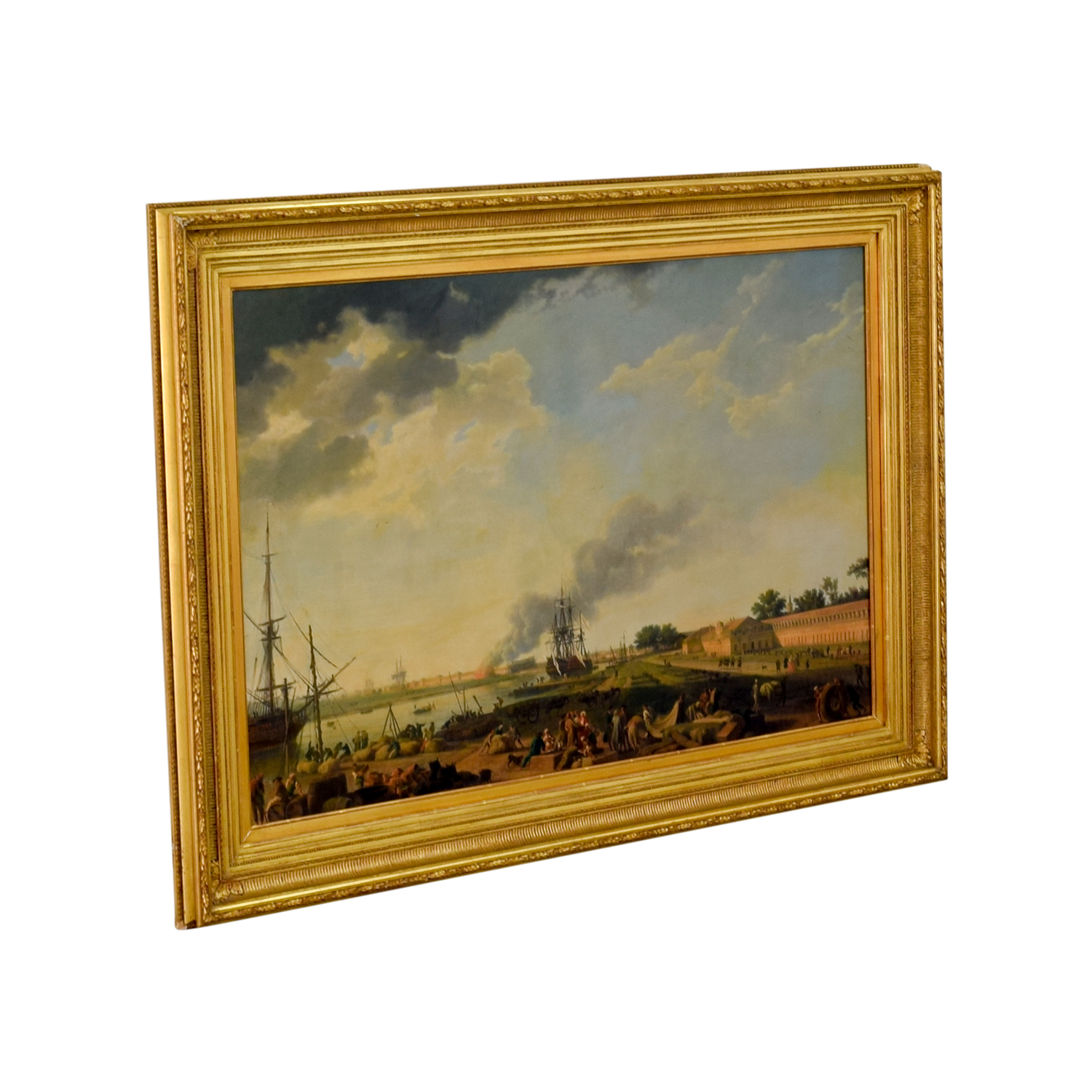 Radovan Mirazovitch Vue Du Port De Rochefort Canvas Artwork gold frame