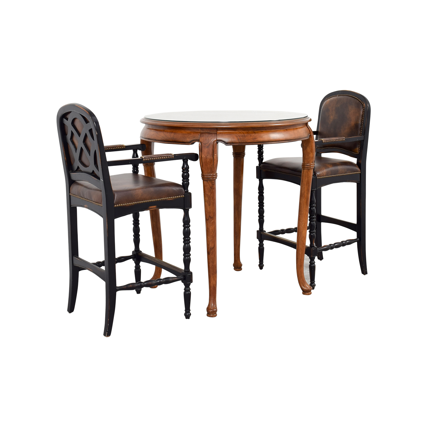 66% OFF Cafe Table with Two Leather Chairs Tables