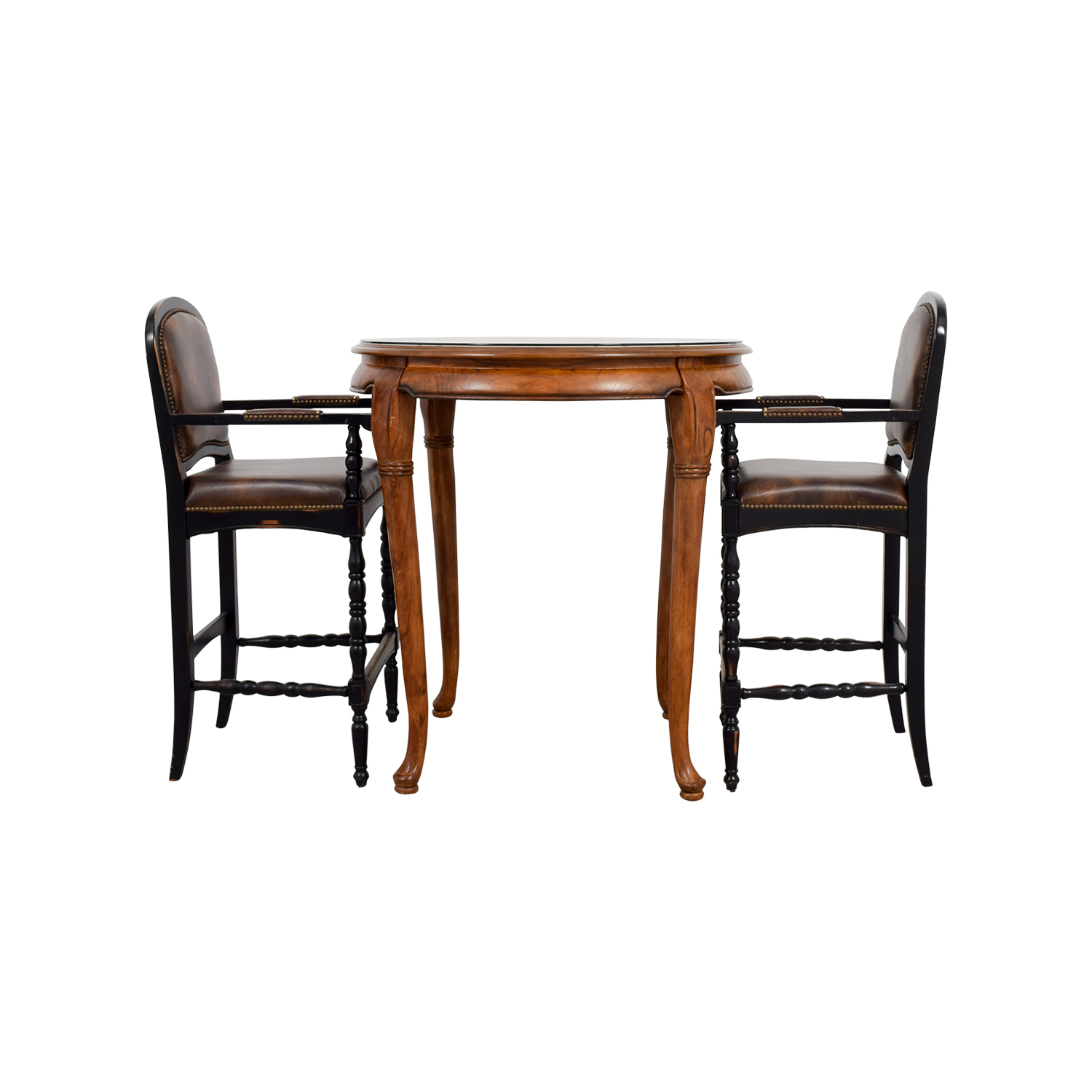 Cafe Table with Two Leather Chairs coupon