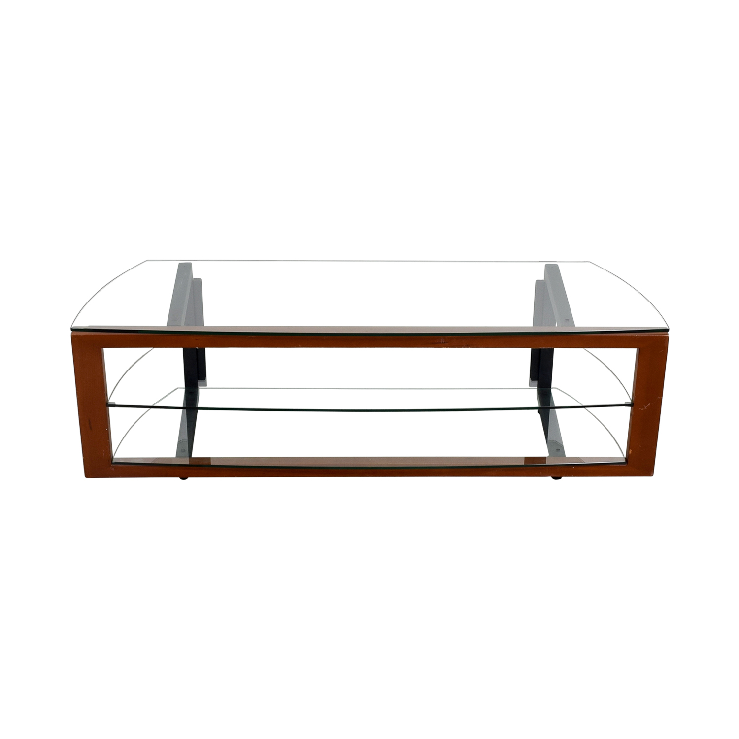 Glass Wood and Metal TV Stand