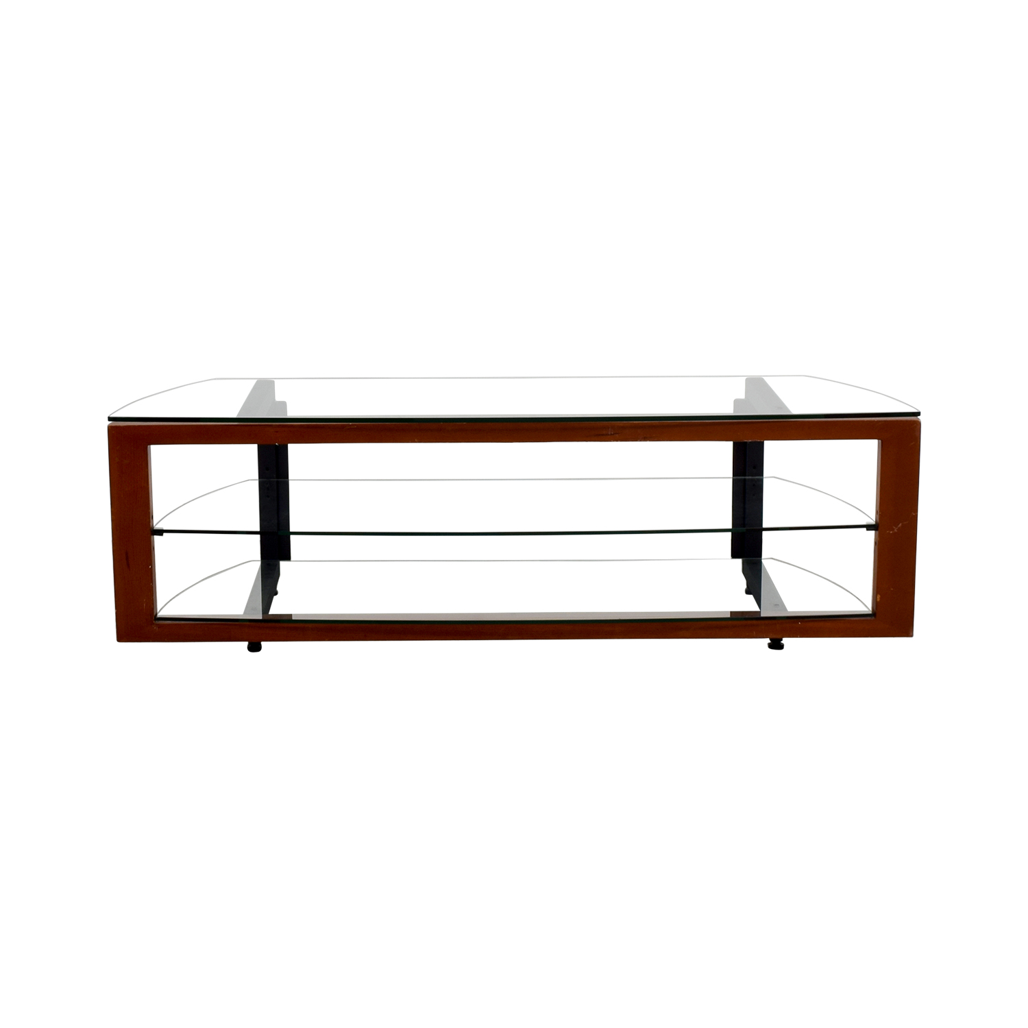 54 Off Glass Wood And Metal Tv Stand Storage
