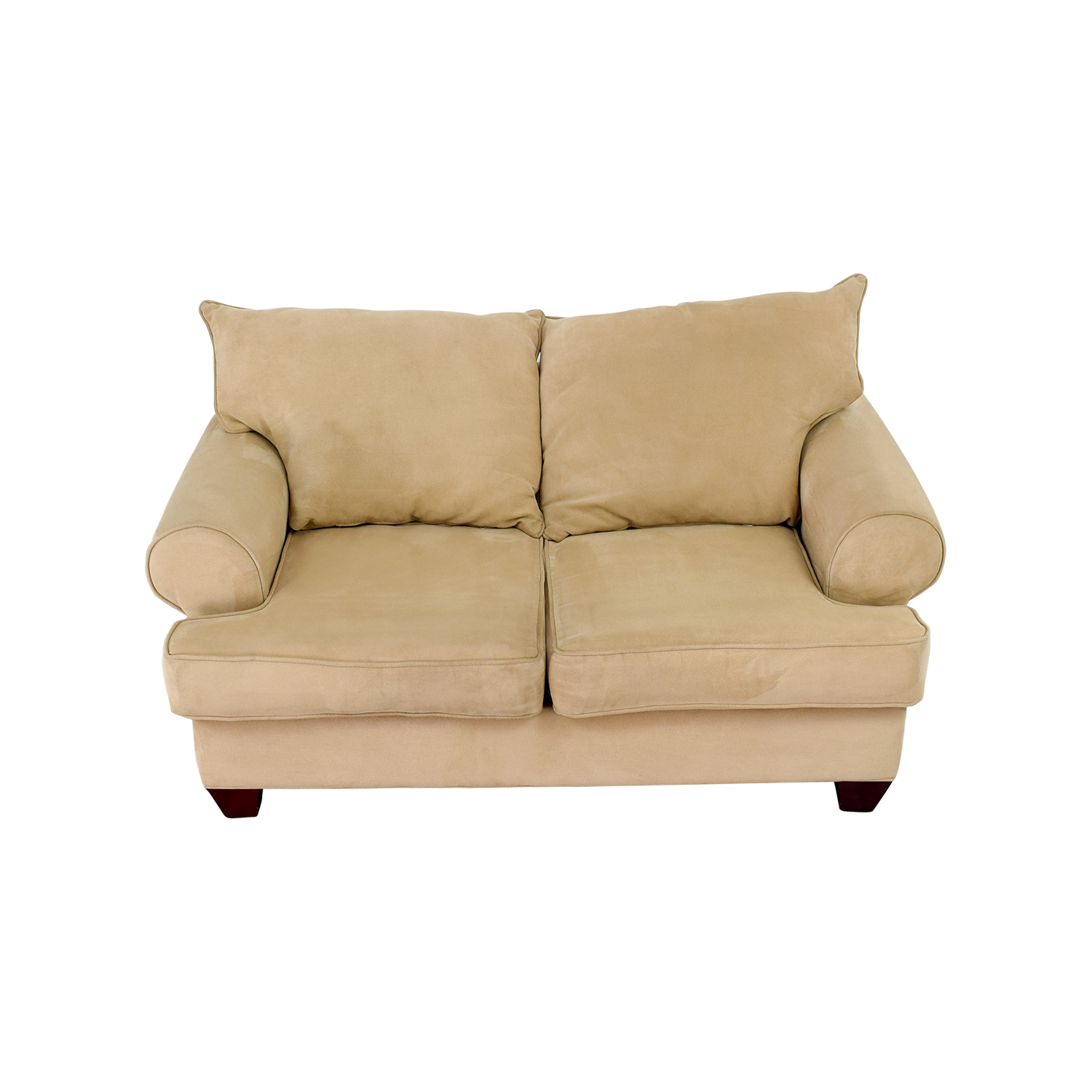 Bobs Furniture Beige Two-Cushion Love Seat / Loveseats