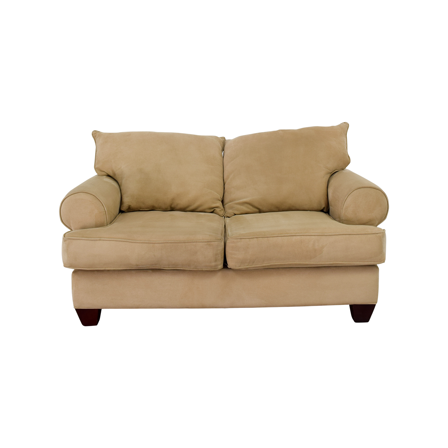 Bobs Furniture Beige Two-Cushion Love Seat sale