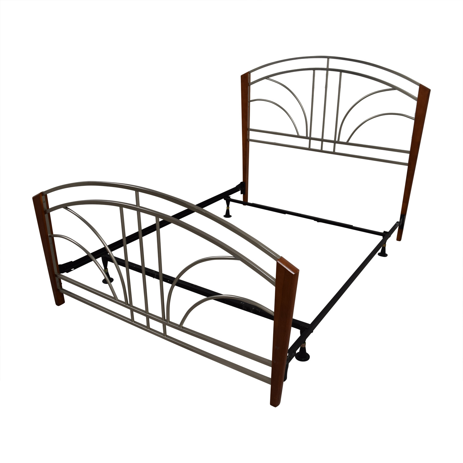 90 off wood post and metal frame queen bed frame beds for Used wooden bed frames