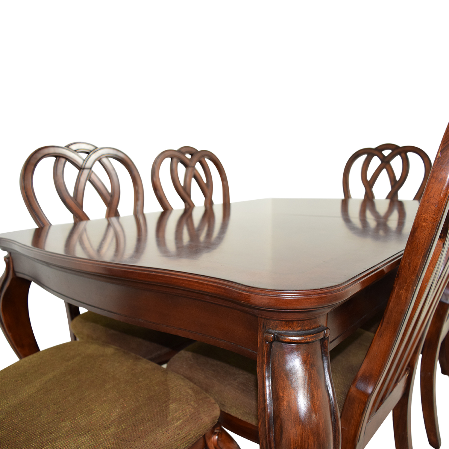 66 off wood dining table with six upholstered chairs tables. Black Bedroom Furniture Sets. Home Design Ideas