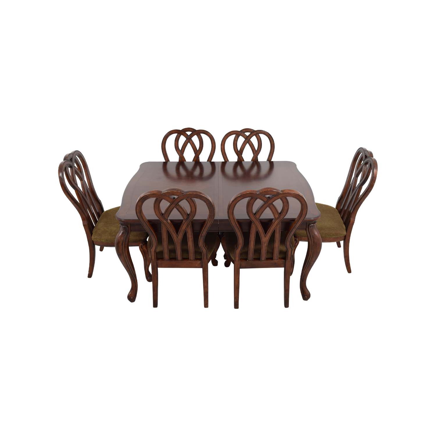 Wood Dining Table with Six Upholstered Chairs second hand