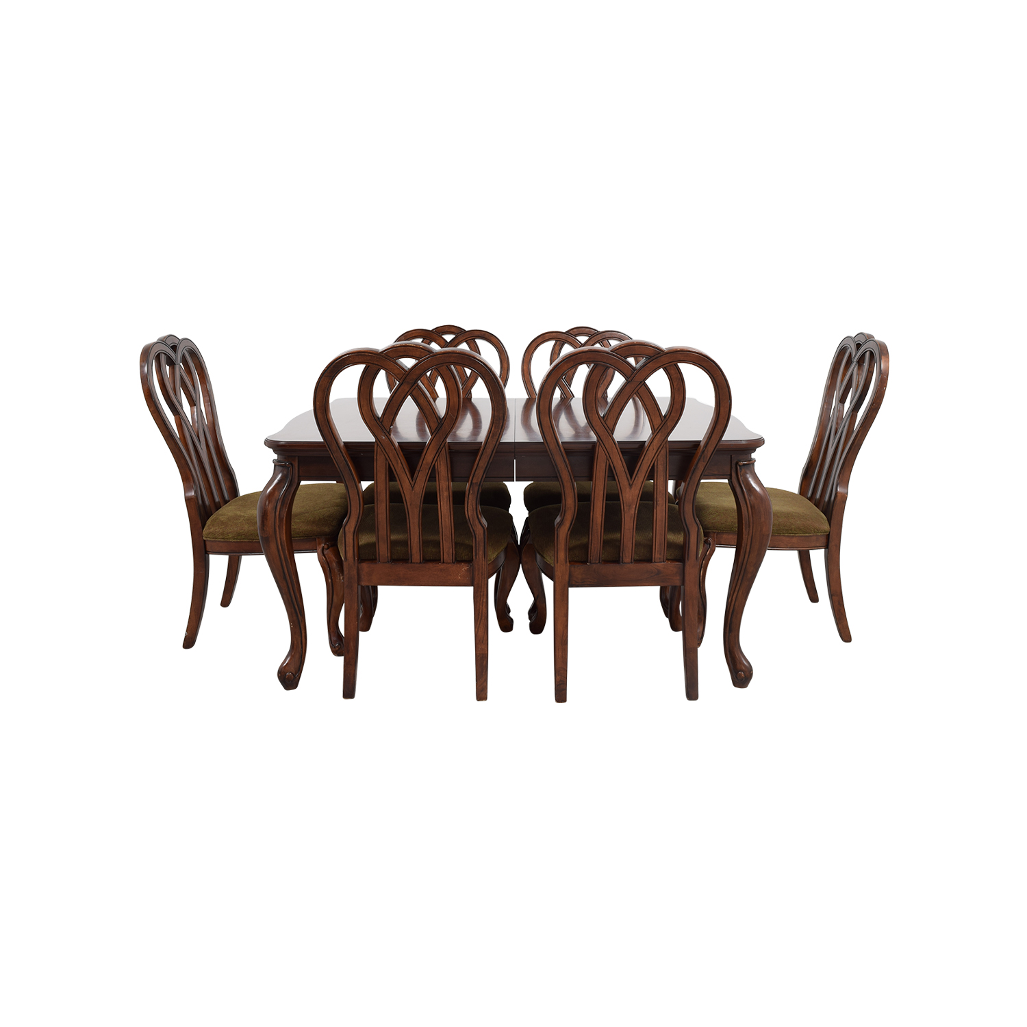 buy Wood Dining Table with Six Upholstered Chairs Dining Sets