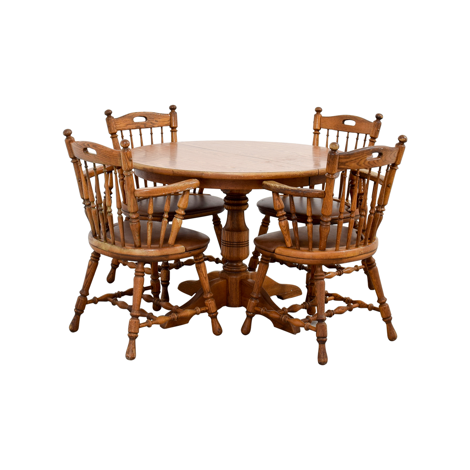 88% OFF - Round Wood Dining Table with Armchairs / Tables