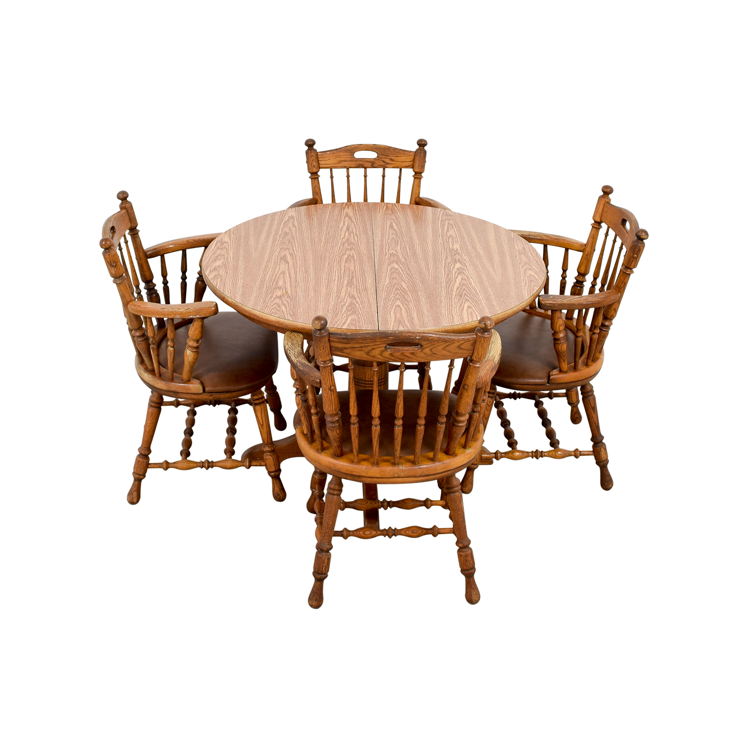 Round Wood Dining Table with Armchairs Dining Sets
