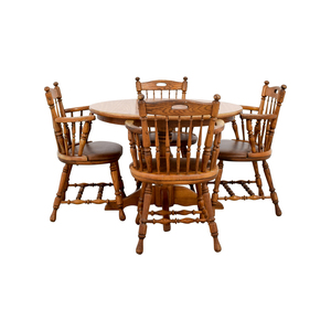 Round Wood Dining Table with Armchairs