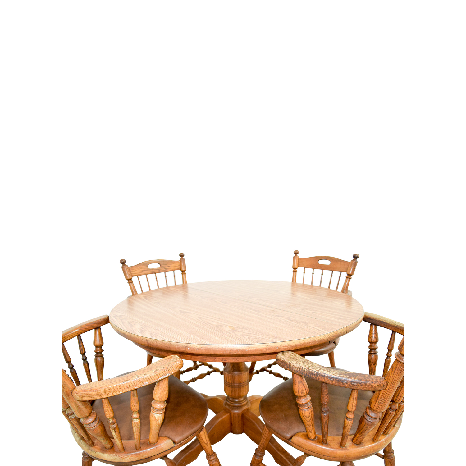 88 Off Round Wood Dining Table With Armchairs Tables
