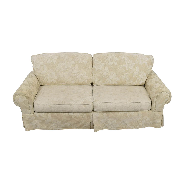 buy White Jacquard Lilly Upholstered Sofa Sofas