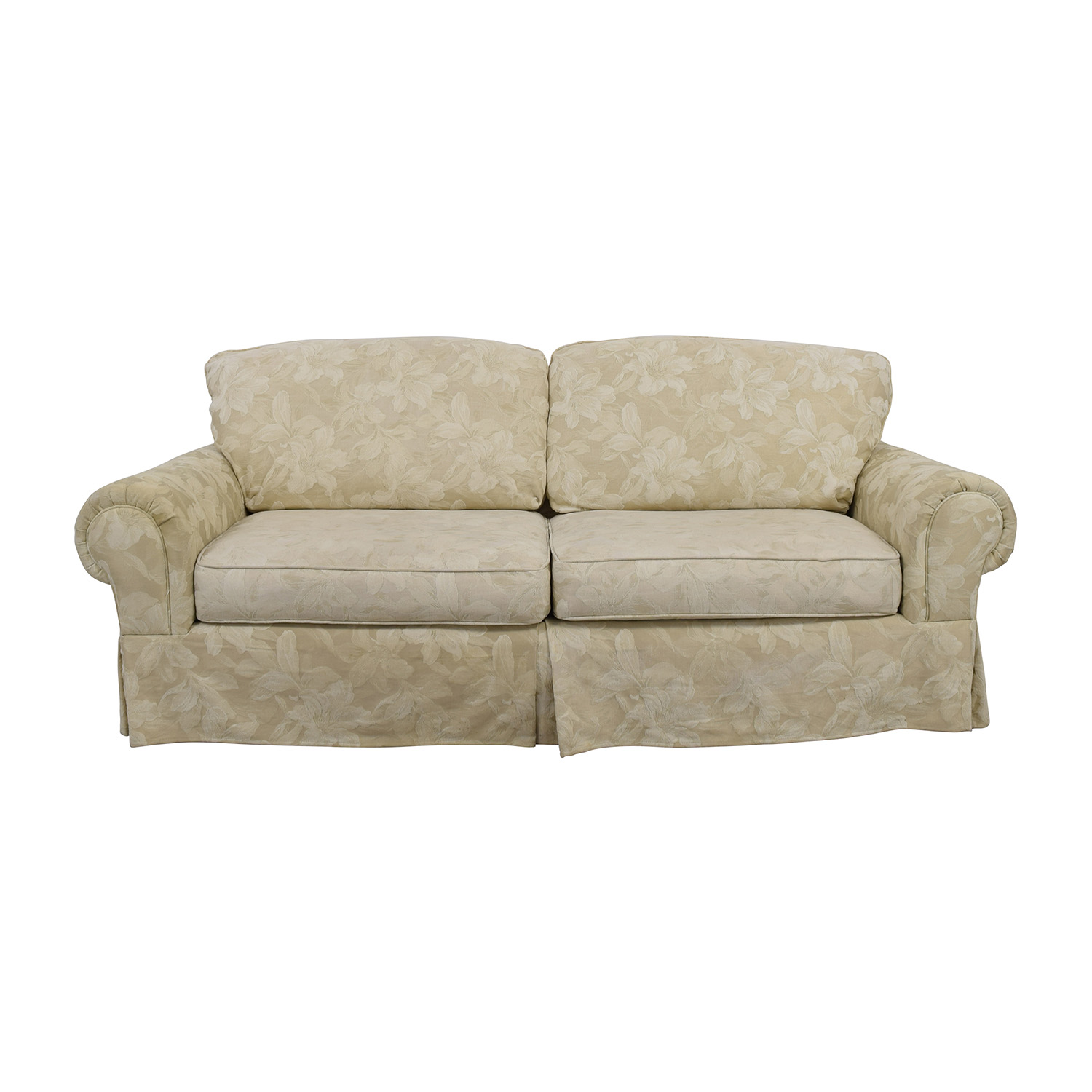 White Jacquard Lilly Upholstered Sofa second hand