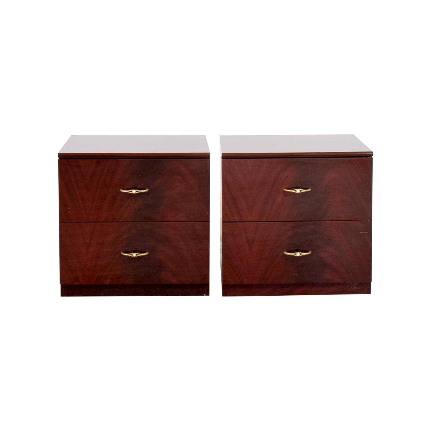 Wood with Gold Accent Nightstands