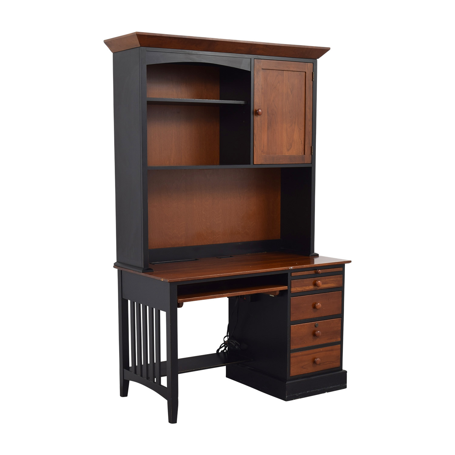 Ethan Allen Ethan Allen Cherry Wood & Black Desk with Hutch dimensions