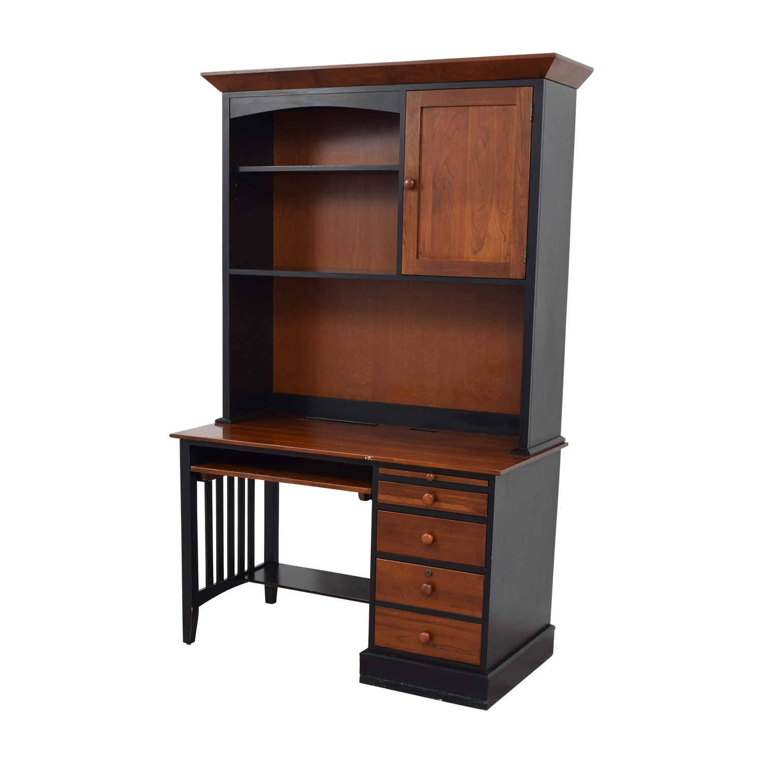 OFF Ethan Allen Ethan Allen Cherry Wood Black Desk With - Desks for home office ethan allen