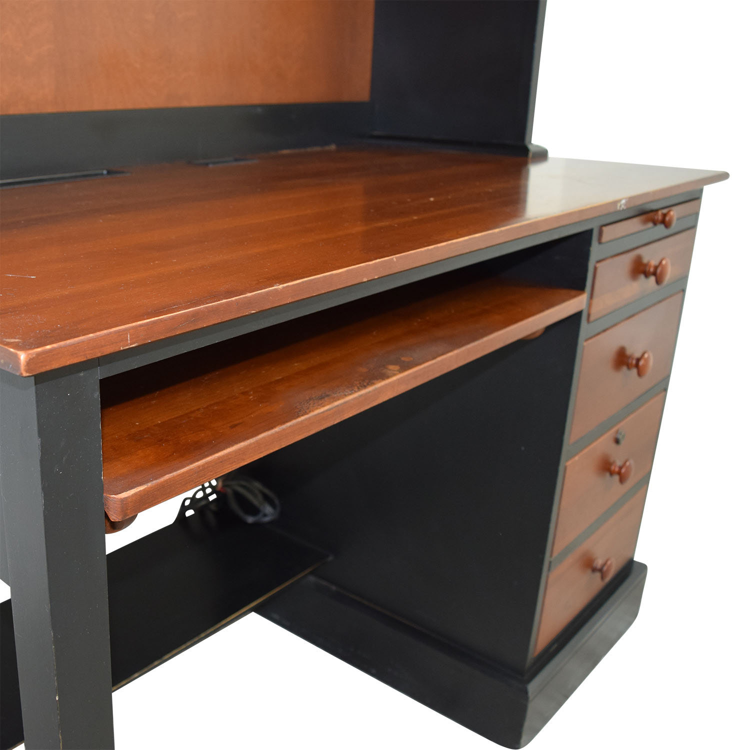 Ethan Allen Cherry Wood Black Desk With Hutch Nyc