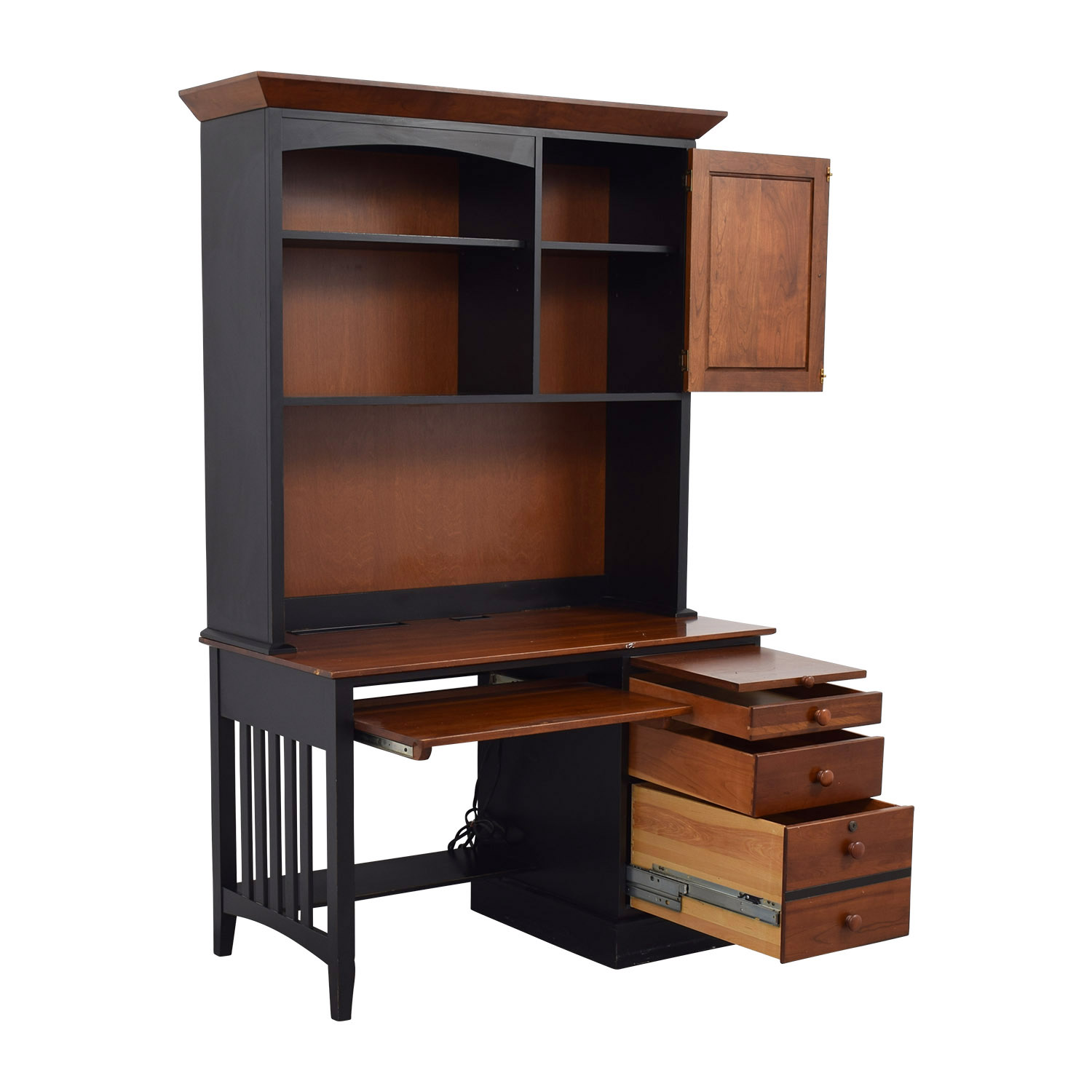 87 Off Ethan Allen Ethan Allen Cherry Wood Amp Black Desk