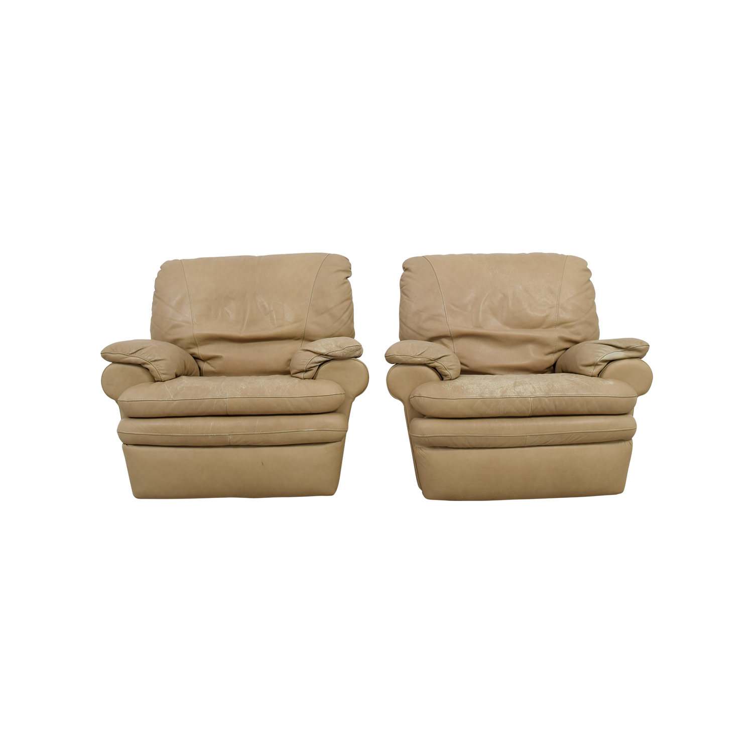 Natuzzi Italian Beige Leather Recliners Italia
