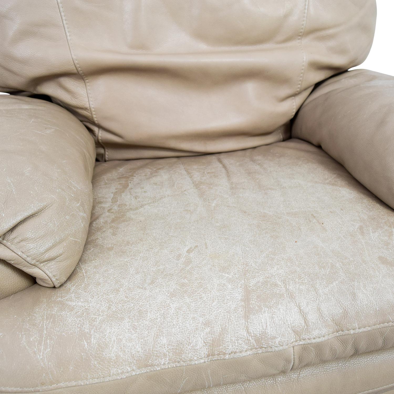 84 Off Natuzzi Natuzzi Italian Beige Leather Recliners Chairs