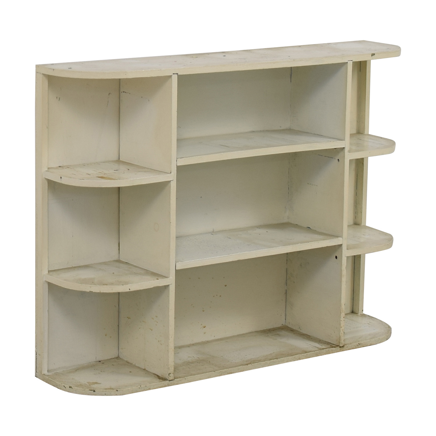 Rustic White Painted Book Shelf