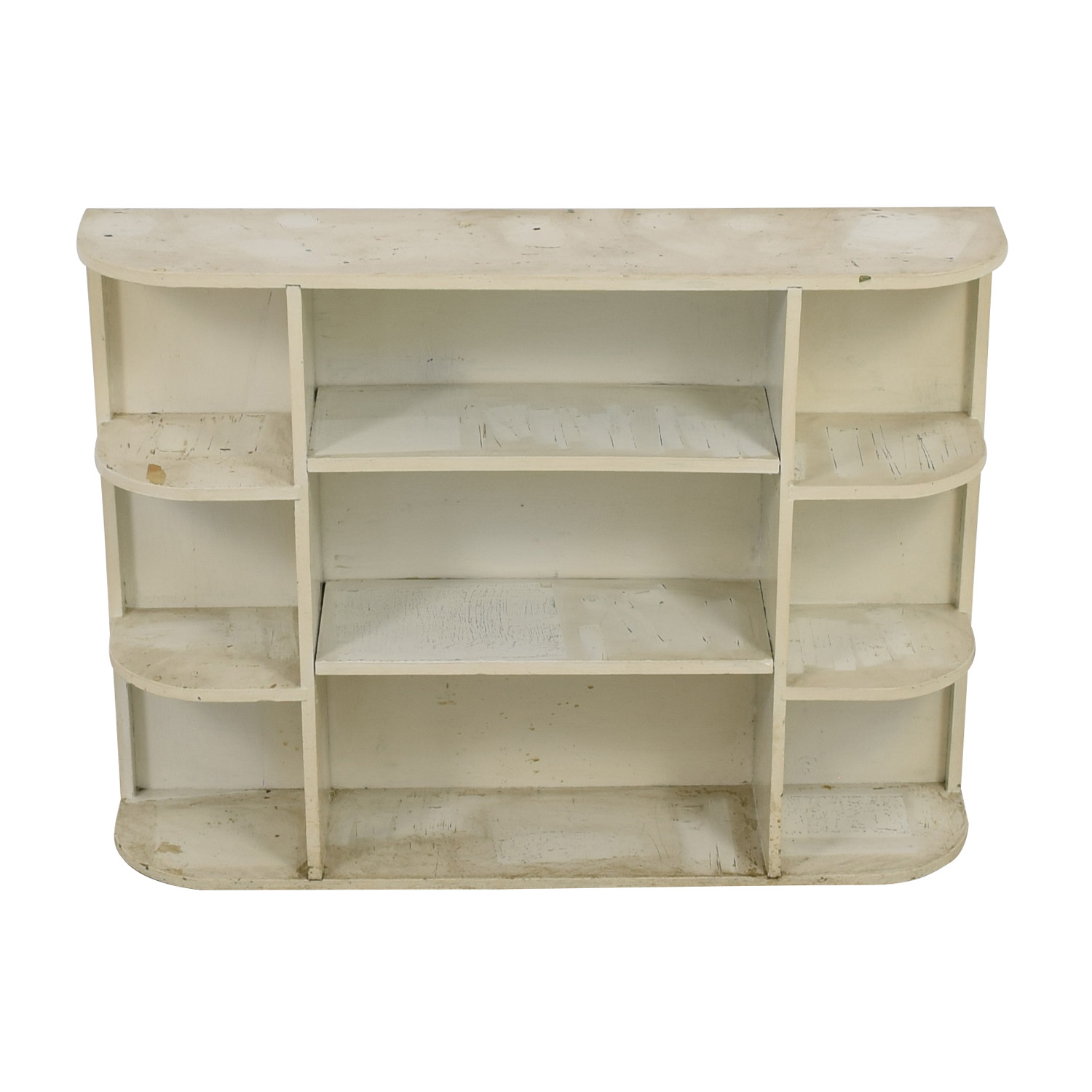 Rustic White Painted Book Shelf Storage