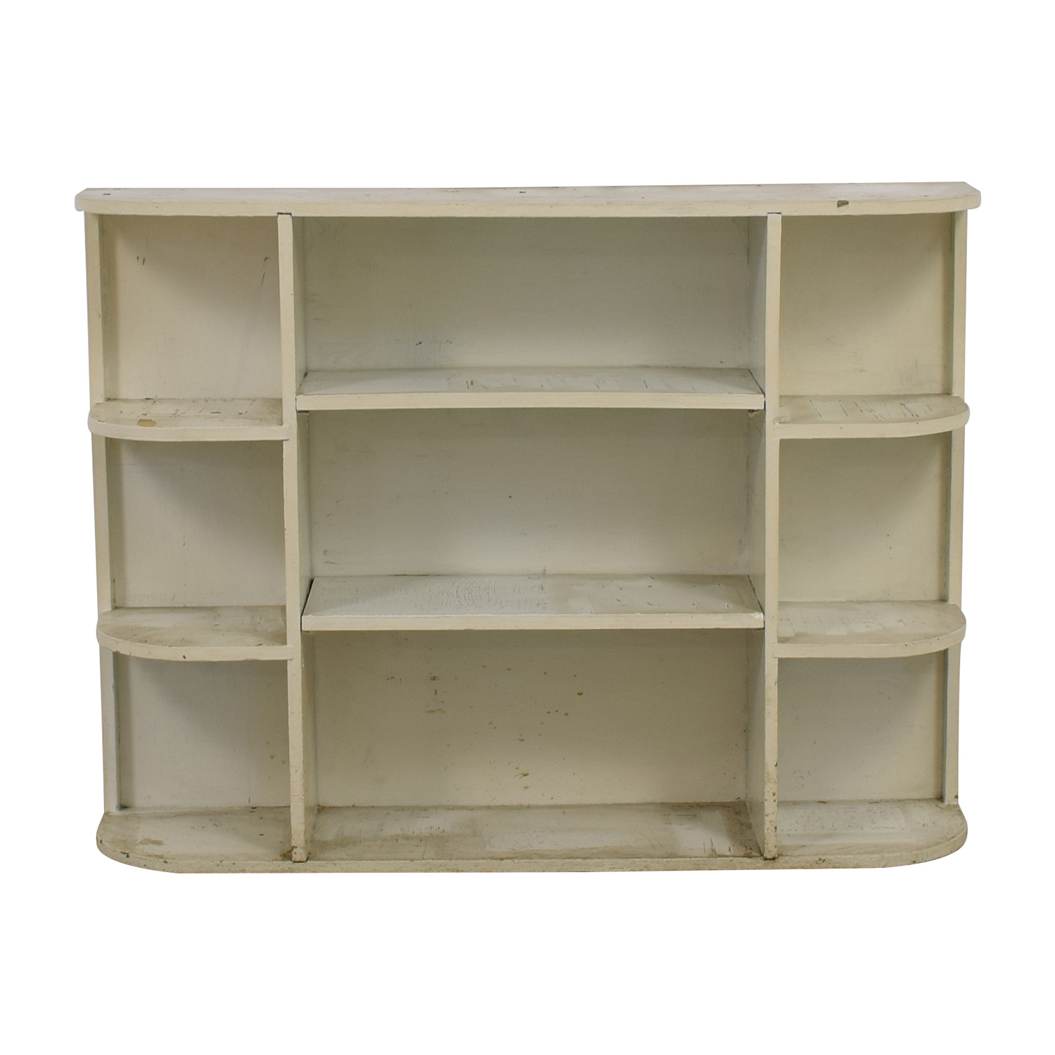 buy Rustic White Painted Book Shelf Bookcases & Shelving