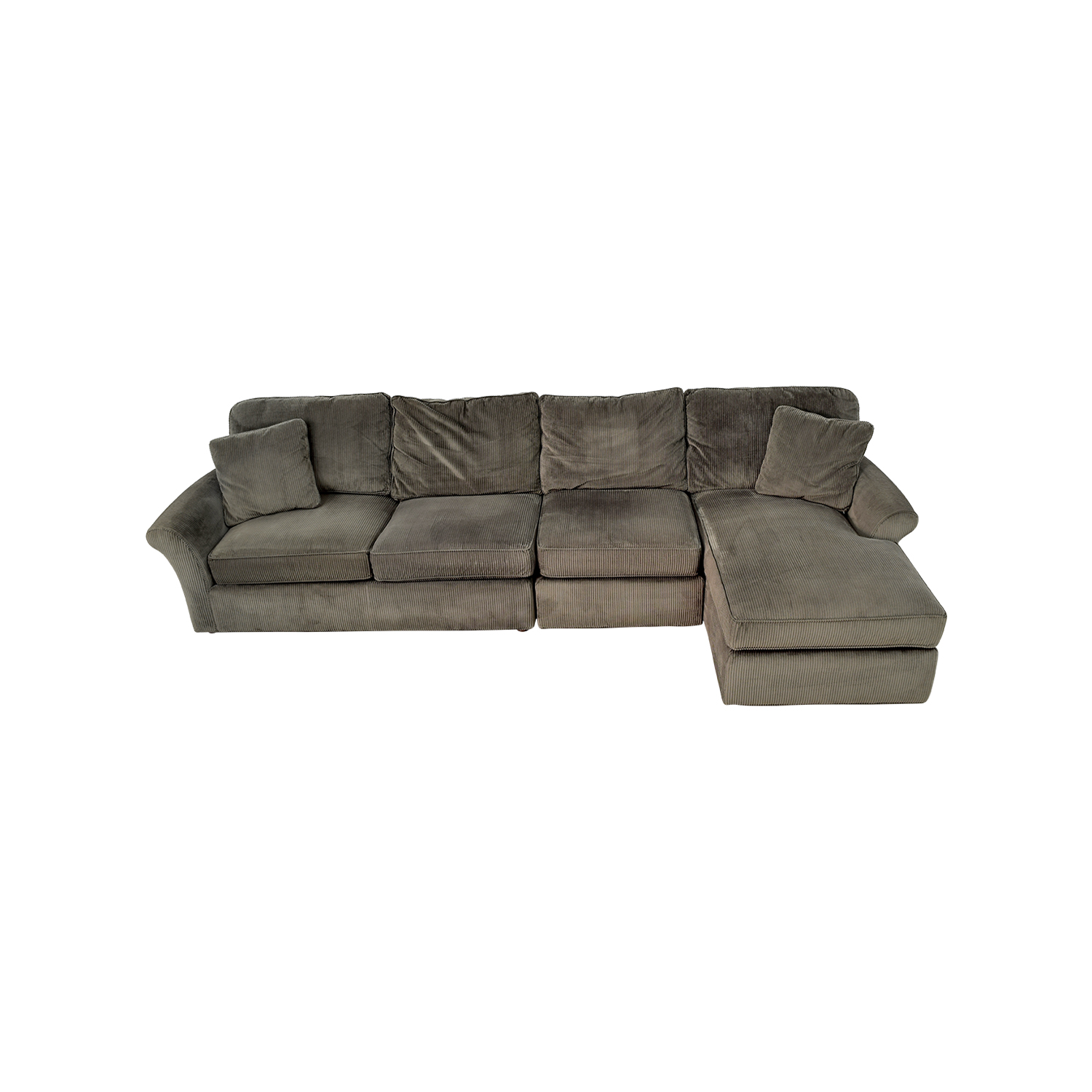 shop Macys Modern Concepts Charcoal Gray Corduroy Chaise Sectional Macys Sofas